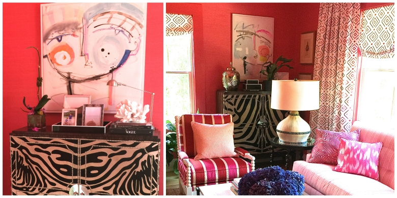 Interior design by Brian Patrick Flynn for the Hampton Designer Show House. Paintings by Sally King Benedict.