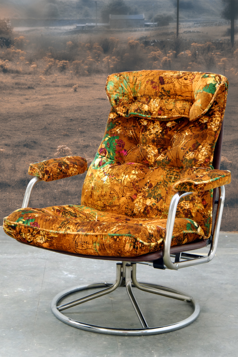 """1970's swivel-tilt chair upholstered in 'Henry """" from Blackpop's """"The Tudors- Deconstructed"""" collection"""