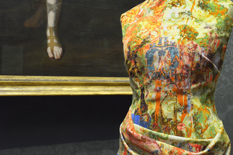 """Blackpop at the National Portrait Gallery with their """"Elizabeth"""" velvet fabric"""