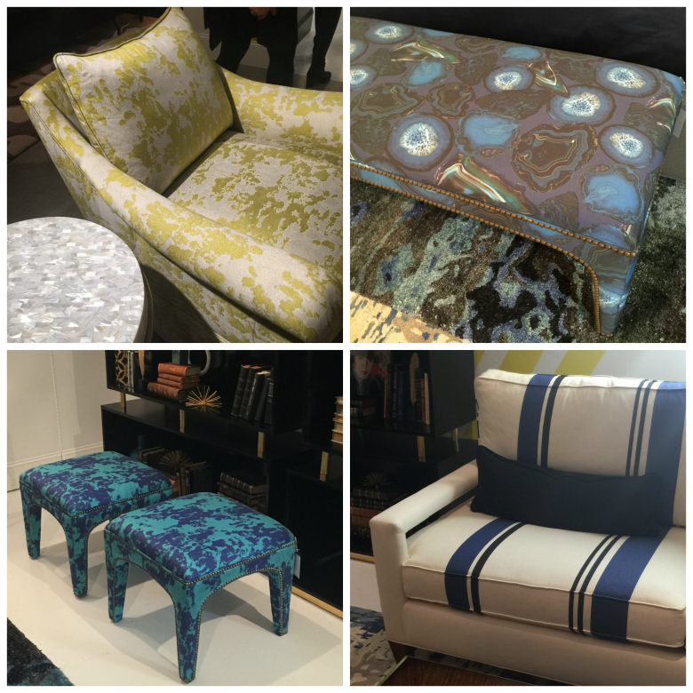 These pieces in the Cynthia Rowley collection for Hooker Furniture showcase some of her fabric designs