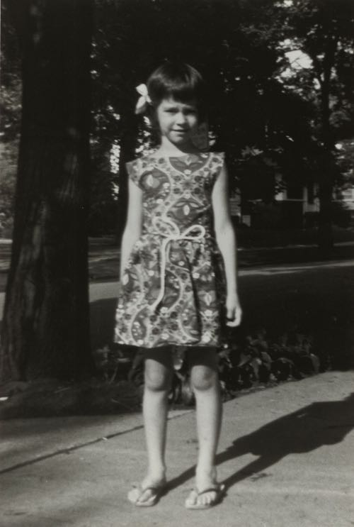 Cynthia Rowley, age 7, wearing the first outfit she ever made.