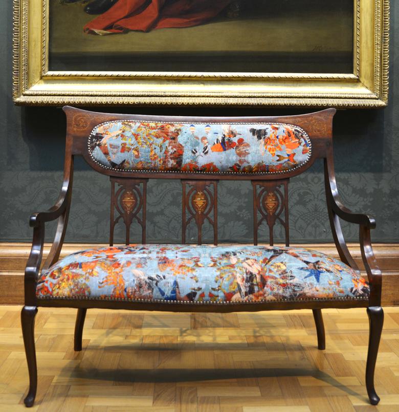 """Inlaid Mahogany Edwardian VII Salon Sofa upholstered in 'Mary' velvet by Blackpop"
