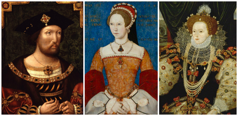 """These paintings of Henry VIII, Mary I and Elizabeth I in the collection of London's National Portrait Gallery are the primary inspiration for Blackpop't """"The Tudors-Deconstructed"""" collection of fabric and wallpaper."""