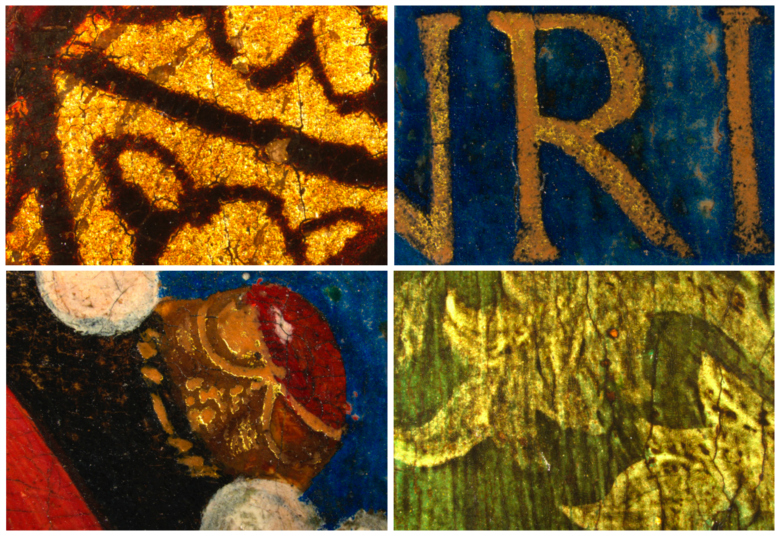 """A selection of microscopic details from 16th century Tudor paintings that inspired Blackpop's """"The Tudors-Deconstructed"""" collection."""