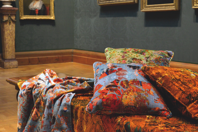 Velvet cushions and fabrics have been designed in a collaboration between Blackpop and the National Portrait Gallery London