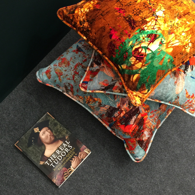 Velvet cushions and fabrics, and wallpaper, have been designed in a collaboration between Blackpop and the National Portrait Gallery London.