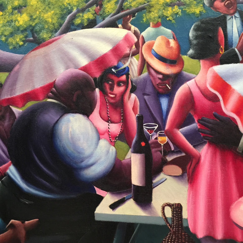 """Detail from """"The Picnic"""" by Archibald Motley. Oil on Canvas"""