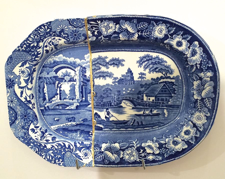"""Paul Scott, """"Cumbrian Blue(s), Italian Rose"""" 2014, Staffordshire transferware collage, gold leaf, brass pins, tile cement and epoxy resin."""