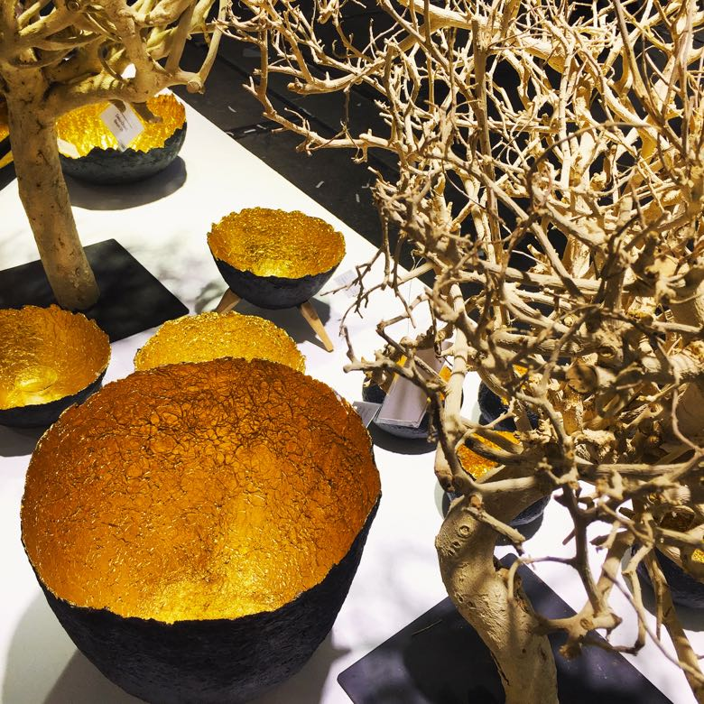Decorama makes these paper mache bowls from sustainable banana paper lined with gold leaf.