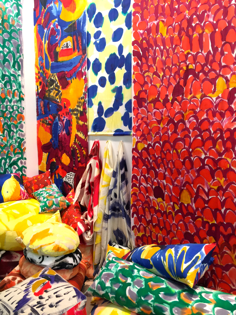 Hand painted textiles shown by Fort Makers at the Architectural Digest Home Show