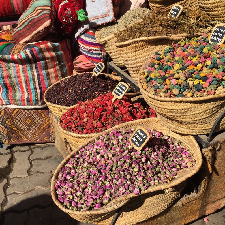 Spices and dried flowers in the Medina. Marrakech, Morocco