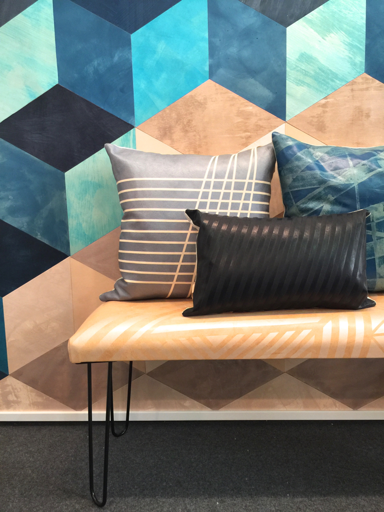 Leather wall tiles, and other products from Avo, shown at the Architectural Digest Home Show