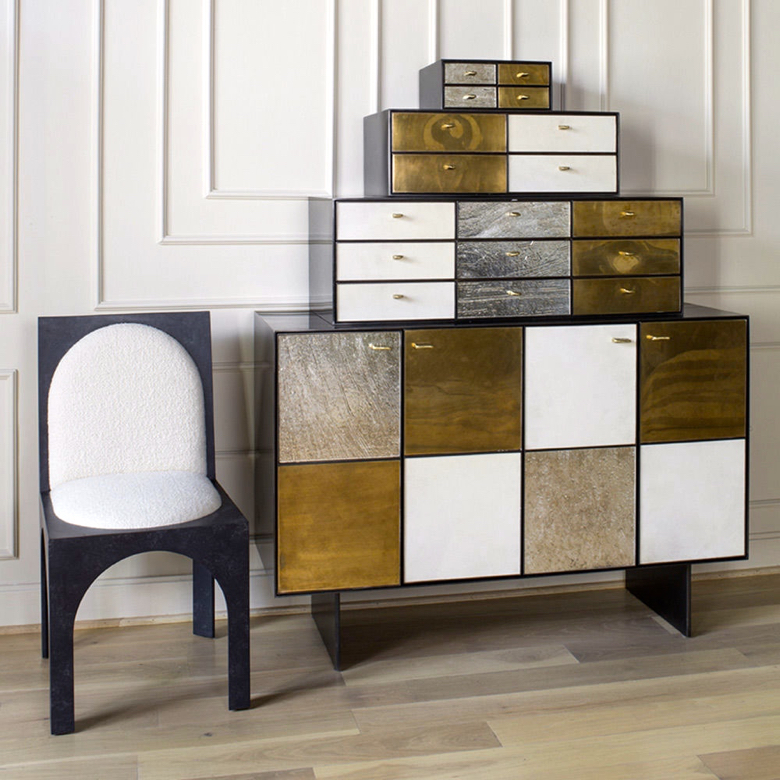 Roxbury dining chair and Huntley cabinet designed by Kelly Wearstler for E.J. Victor