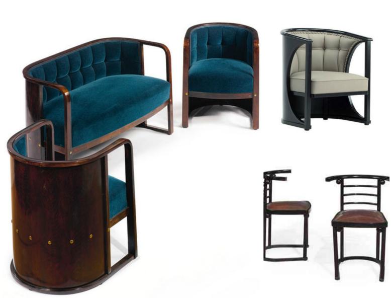 Chairs and settee by Josef Hoffmann, Weiner Werkstatte designer