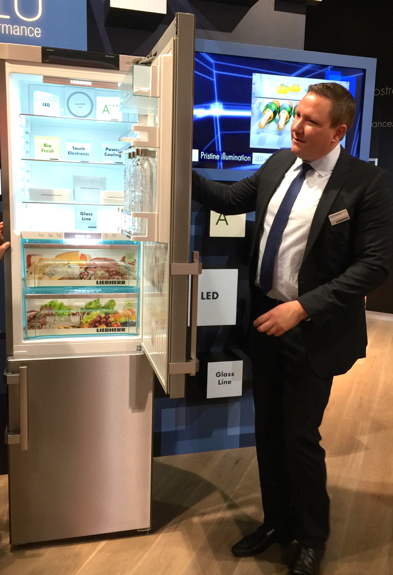 A free standing fridge by Liebherr that opens to 90 degrees.