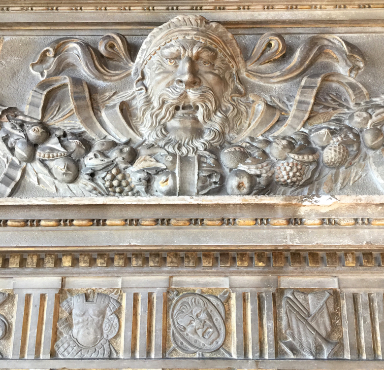 Detail from a fireplace in the Rubelli studio dating from 1524