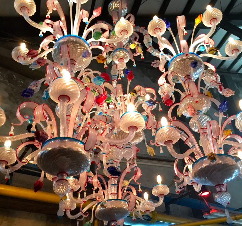Details from chandeliers made by Murano glass maker, Seguso