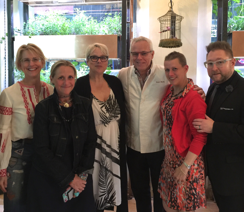 Lynn Byrne of Decor Arts Now and others with chef David Bouley at Bouley Botanical
