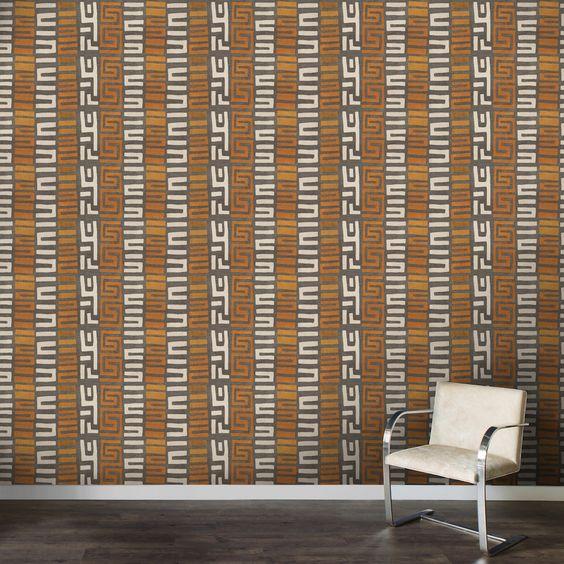 St. Frank Kuba cloth wallpaper in amber