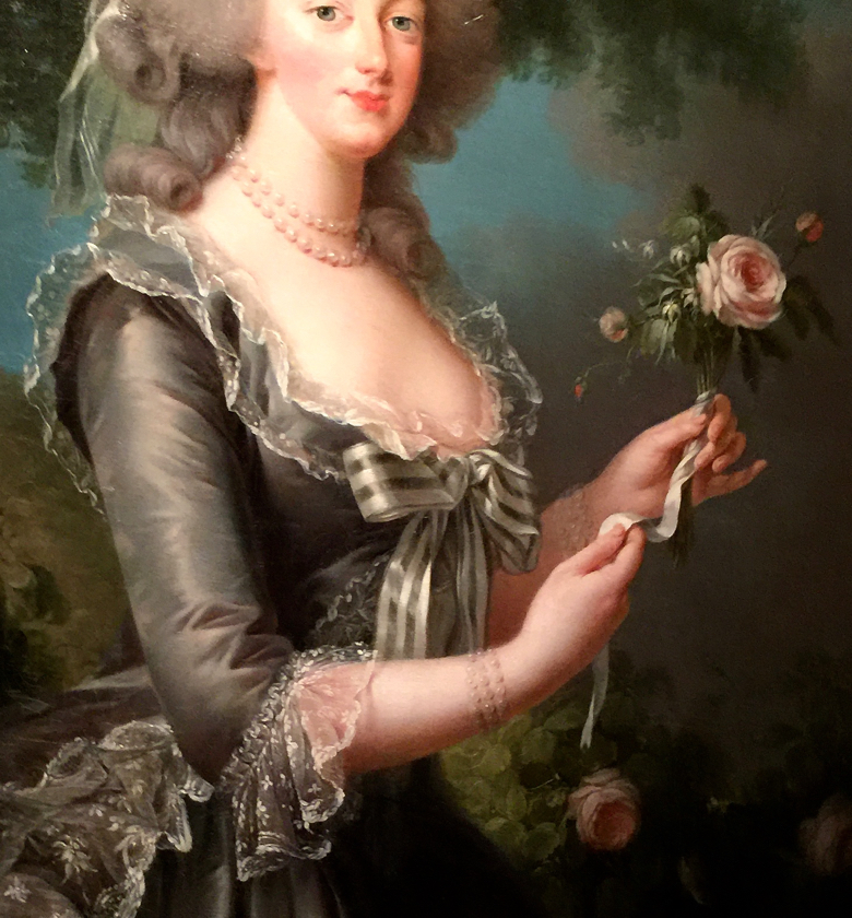 Detail of a portrait by Vigee Le Brun of Marie Antoinette