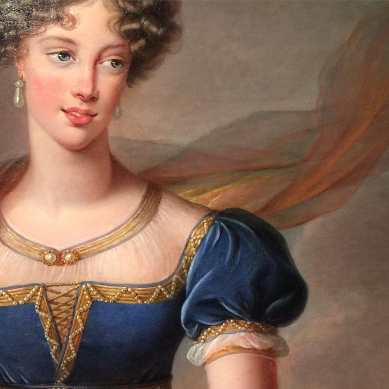 "Detail from ""The Duchesse de Berry in a Blue Velvet Dress"" by Vigee Le Brun, 1824"