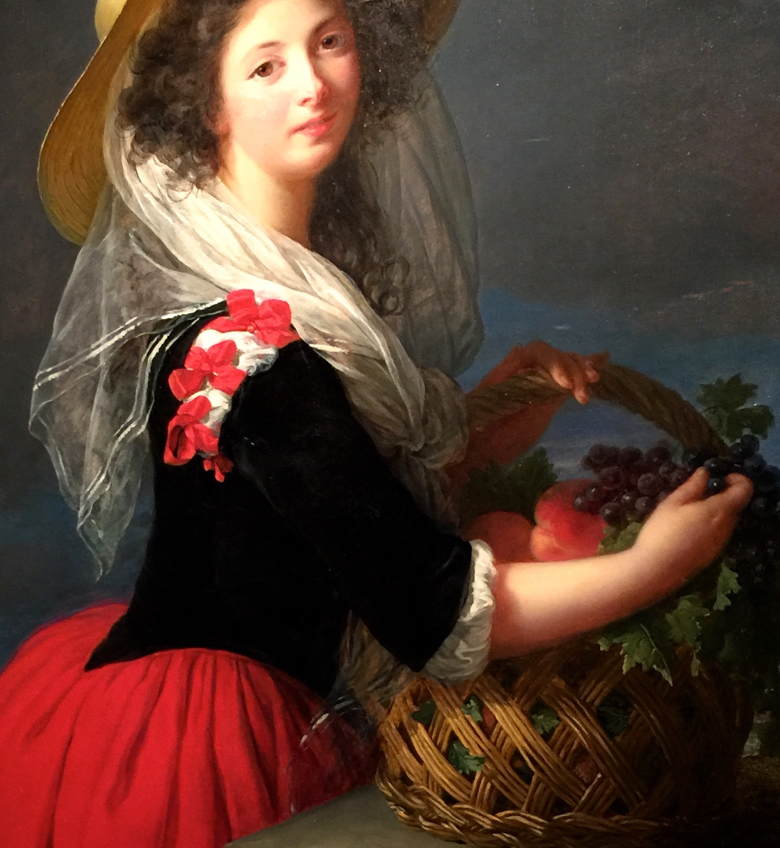 "Detail from ""The Comtesse de Gramont Caderousse Gathering Grapes"" by Vigee Le Brun 1784"