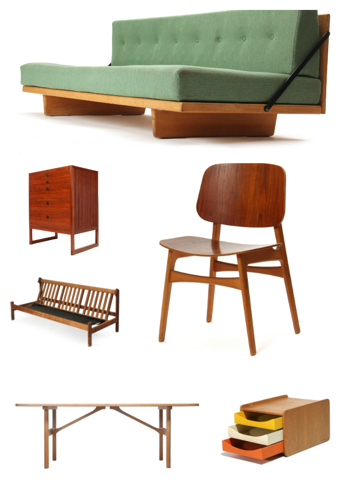 A selection of furniture designed by Borge Mogensen