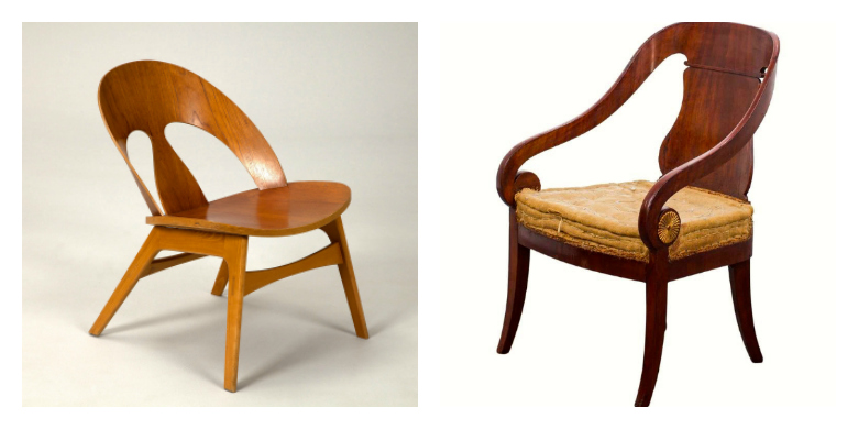 Borge Mogensen's Shell Chair and an example of an Empire chair that inspired it.