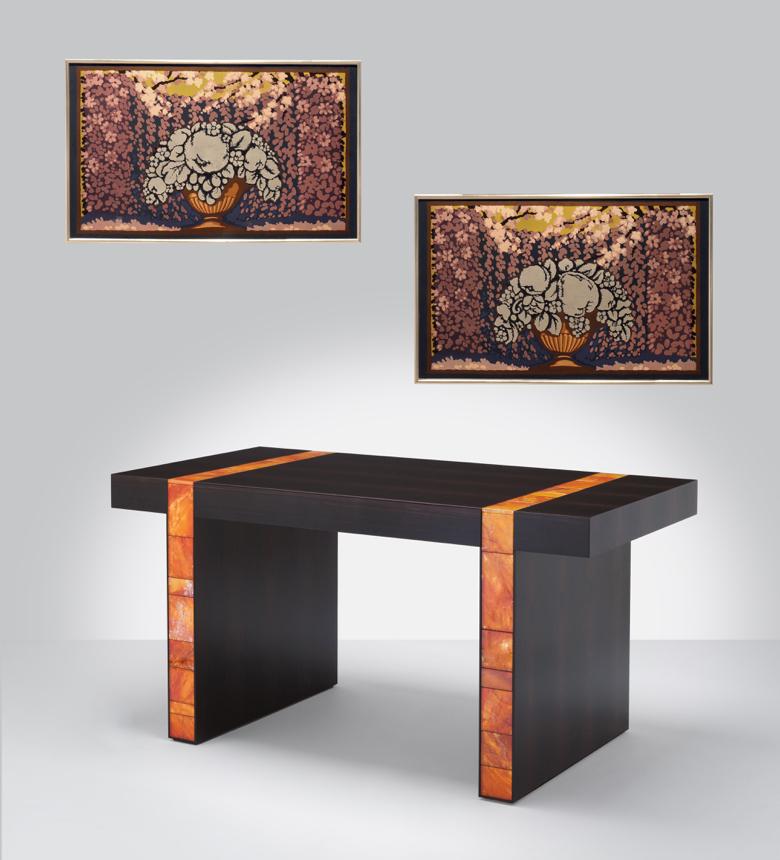 Historic Wallpaper Panels and Desk by Mattia Bonetti
