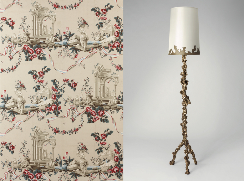 Historic Wallpaper and Floor Lamp by Mattia Bonetti