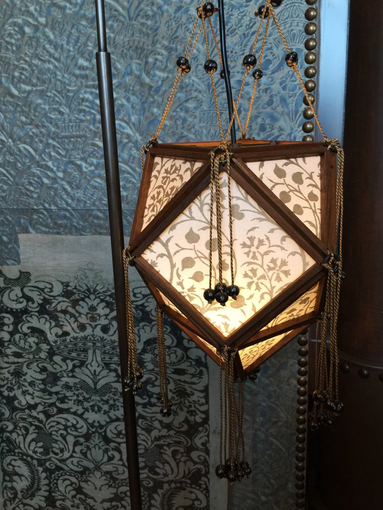 Fortuny lighting and fabrics from the Fortuny showroom in Venice