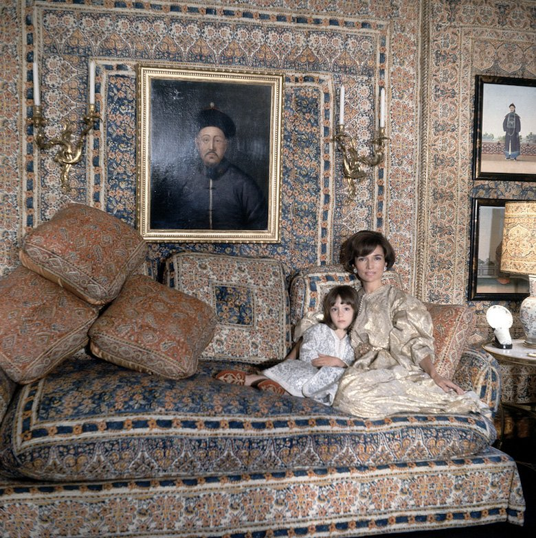 Princess Lee Radziwill with daughter Anna Christina in the Turquerie room of their London house. Interior designed by Renzo Mongiardino
