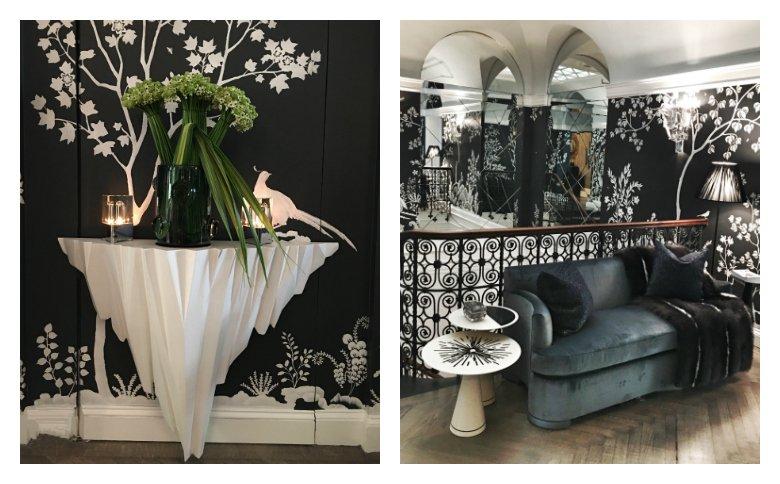 Interior design by John Savage. Wallpaper by M J Atelier .