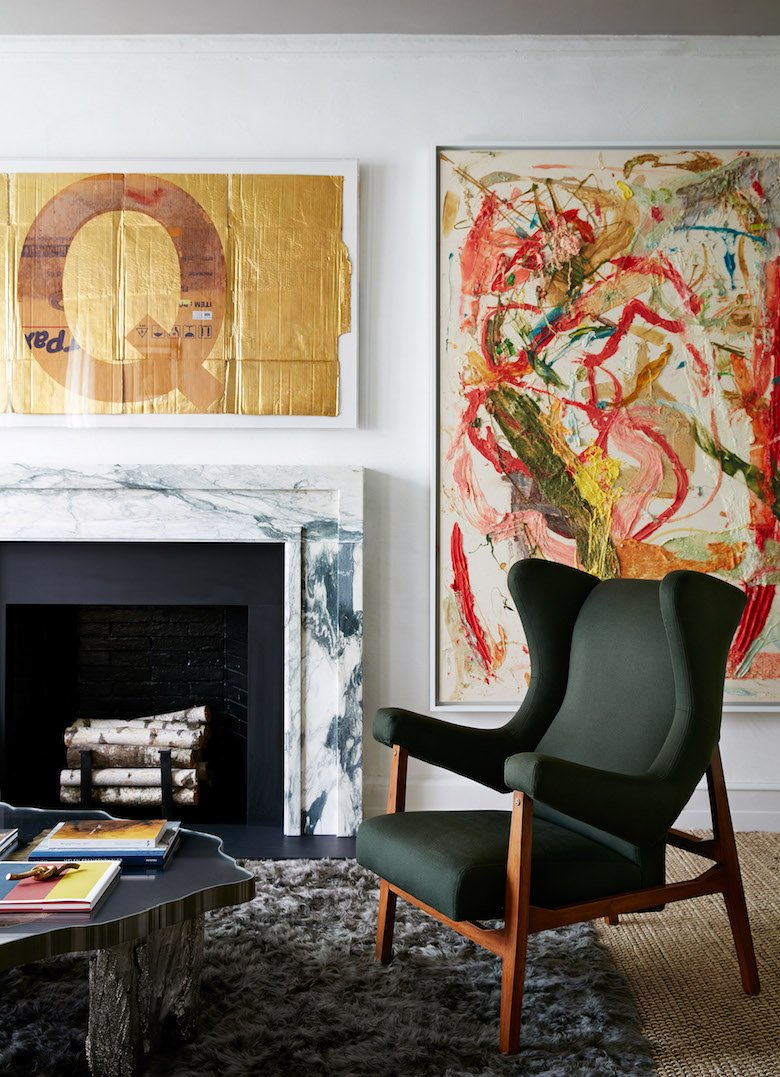 Interior design by Rob Stilin. Abstract painting by Dan Colen. The letter Q is b Danh Vo.
