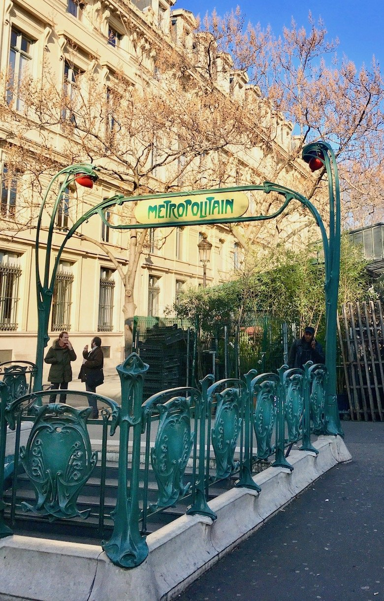 Paris Metro Station by Art Nouveau architect Hector Guimard, photo by Lynn Byrne.