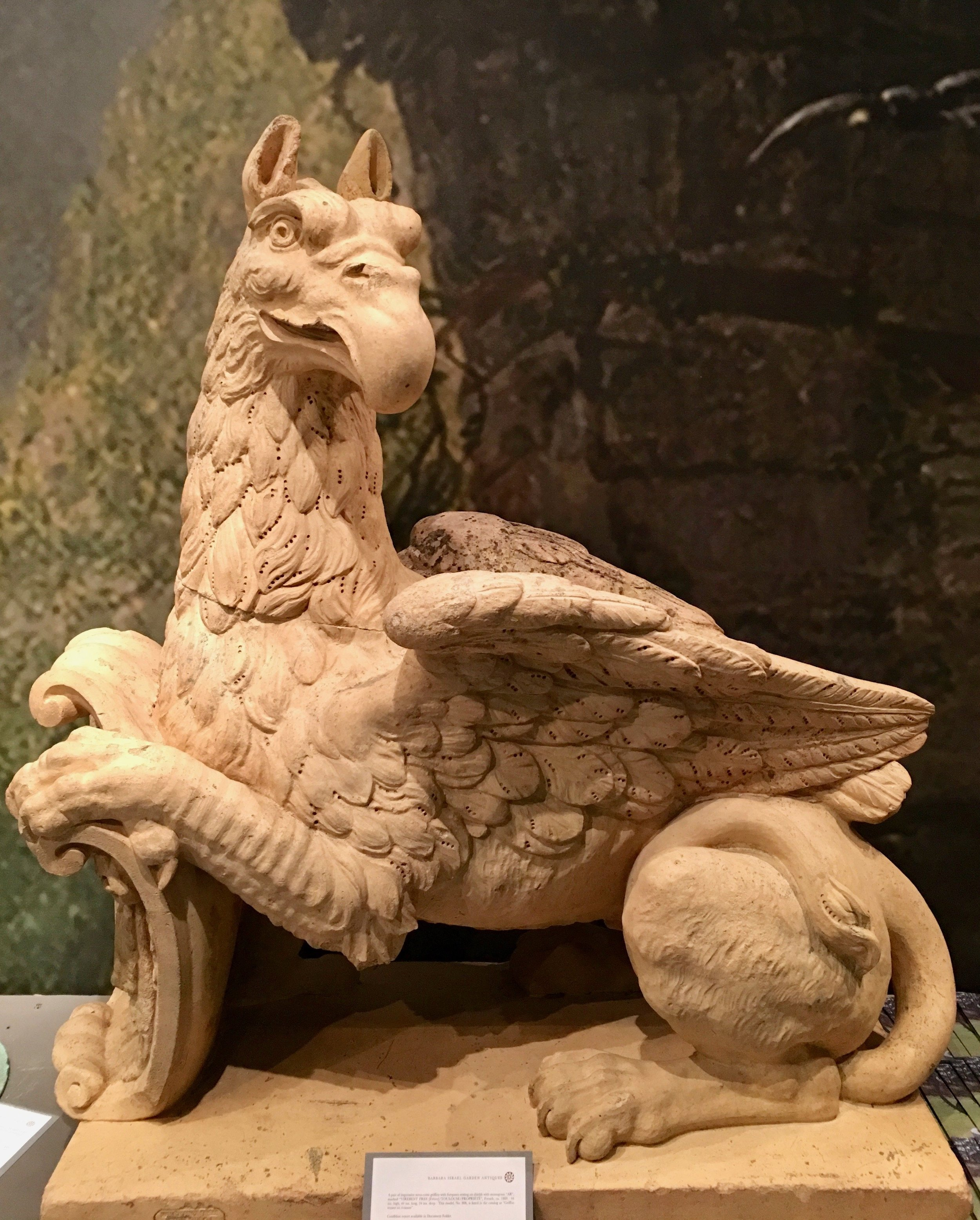 French terracotta griffin. c.1860