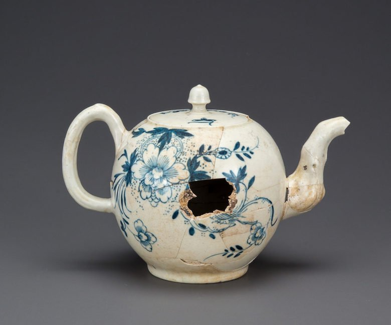 America's Oldest Teapot c. 1765 discovered in an archeological dig on the site of the new Museum of the American Revolution in Philadelphia an on display at the 2018 New York Ceramics and Glass Fair.