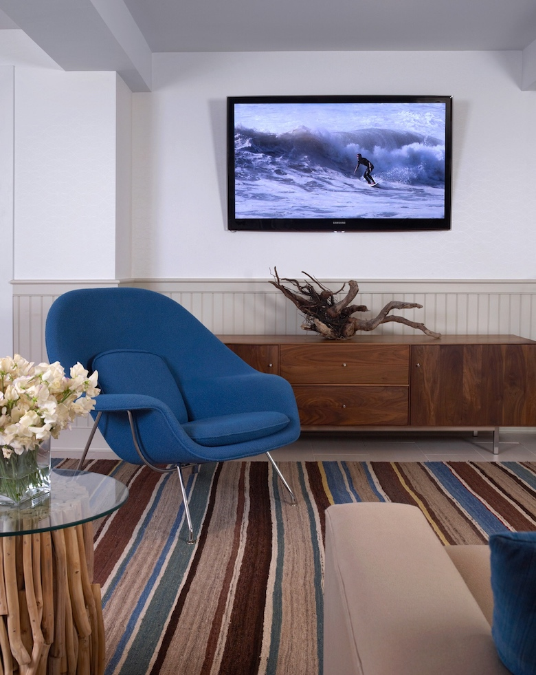 A game room in Montauk NY (part of the Hamptons) created from a basement renovation designed by Lynn Byrne of Decor Arts Now.