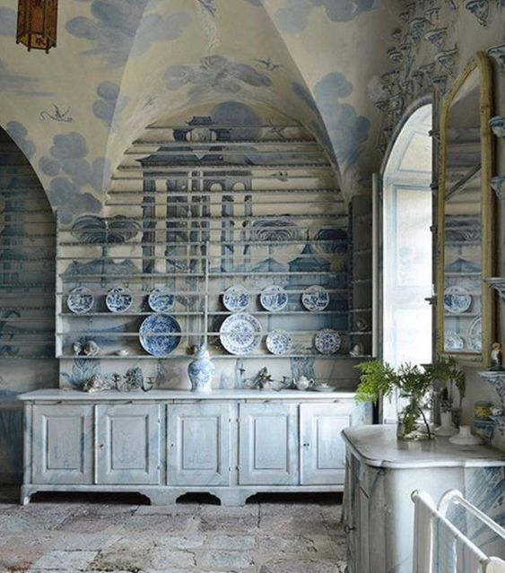 Design Dictionary: The porcelain room at Tureholm Castle in Sweden is example of chinoiserie and Gustavian style