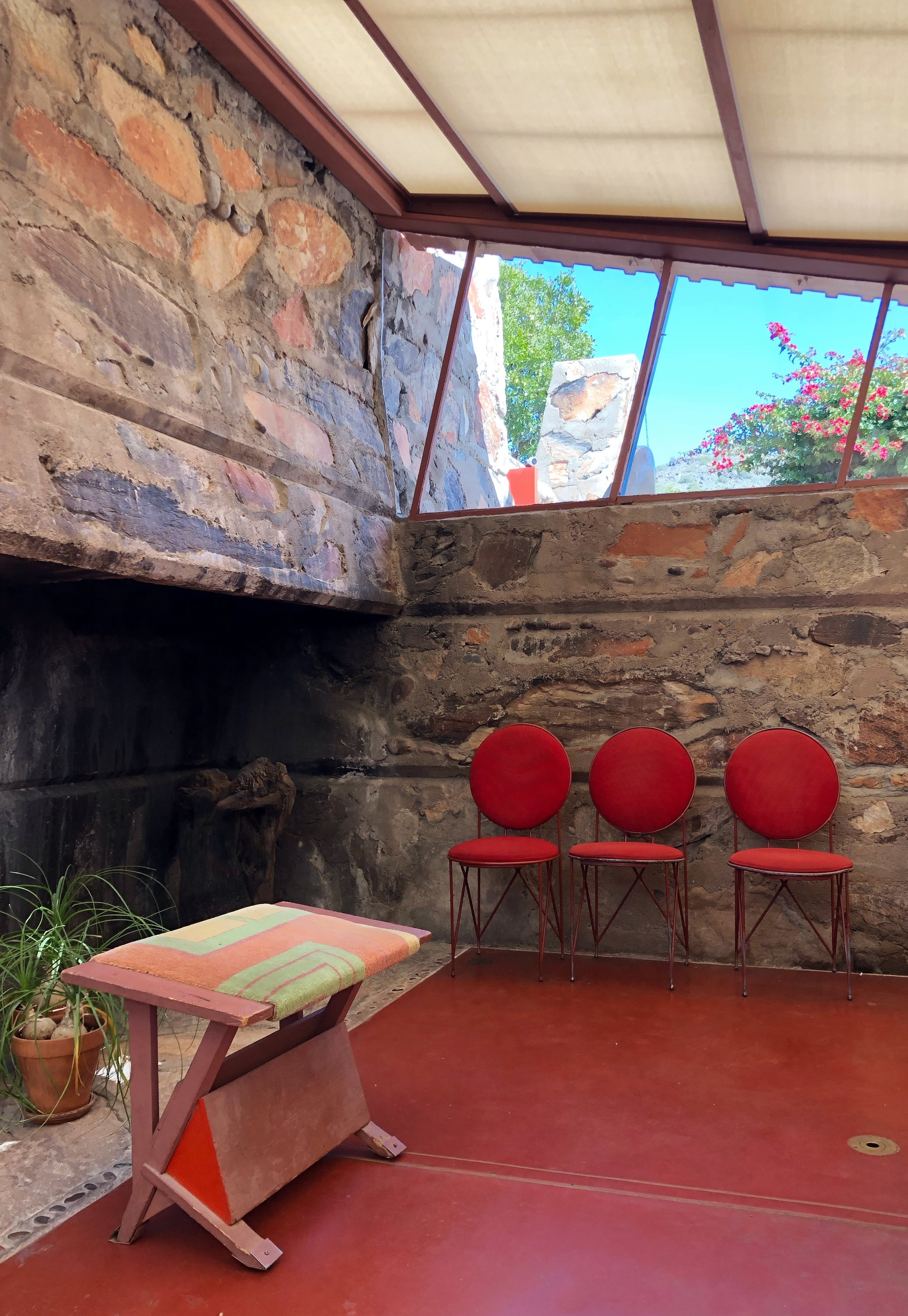 Frank Lloyd Wright and his studio in Taliesen West in Scottsdale, Azizona