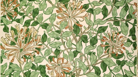 May Morris's popular Honeysuckle pattern. Many people erroneously think her father William Morris designed it.