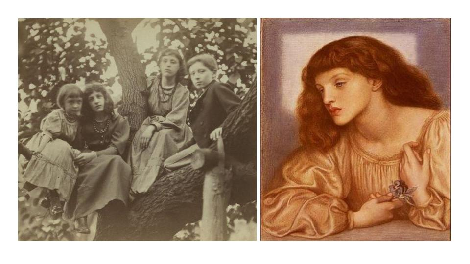 May Morris, second from left and painted by Pre-Raphaelite painter, Rossetti