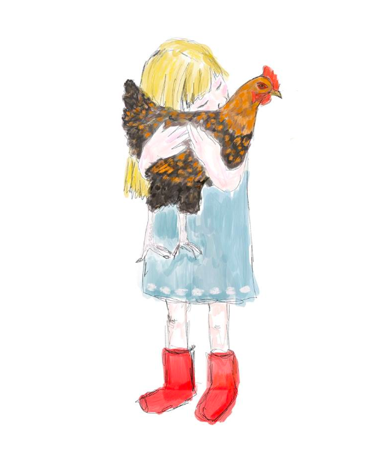 Personal work. An illustration of a child hugging her pet hen.