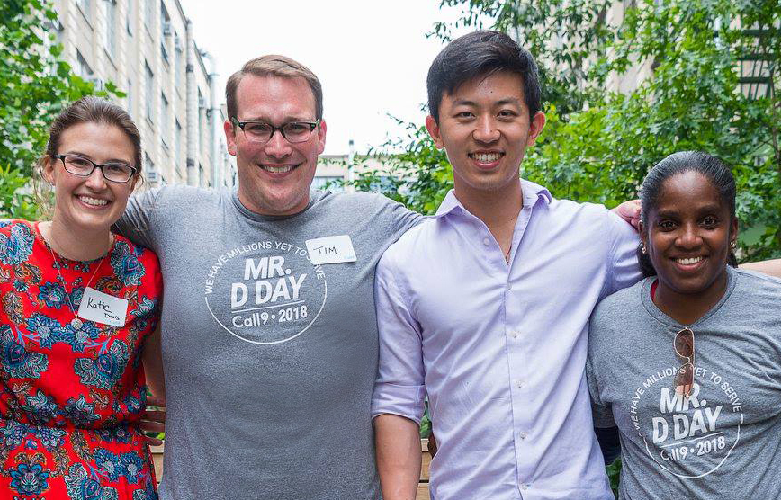 Cofounders Tim Peck and XiaoSong Mu (center) and founding team members Katie Davis (left) and Erika Green (right) celebrate Mr. D Day, our annual celebration of the day we treated our first patient.
