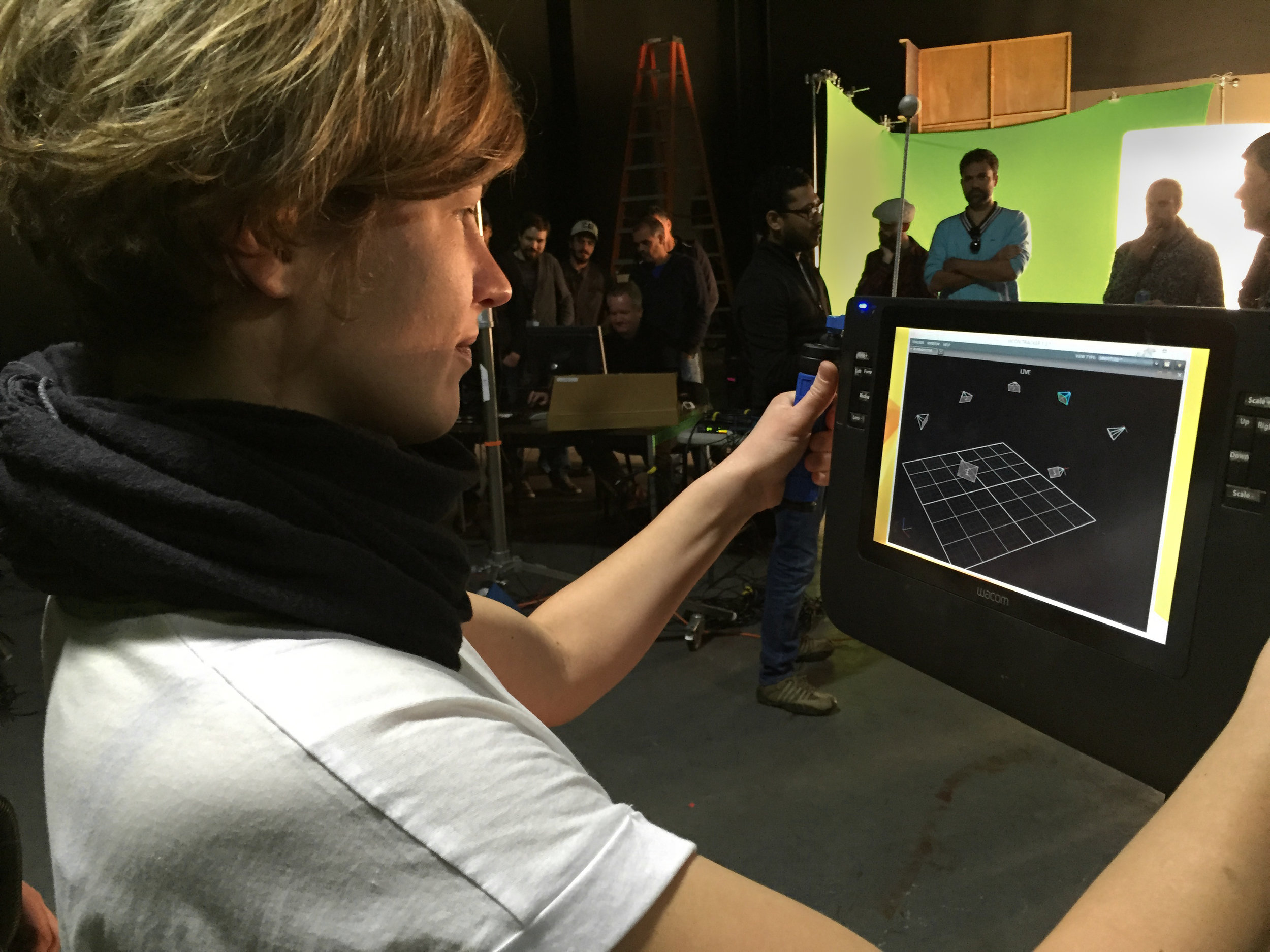 G.C.I. Student using a virtual camera during an on-set cinematography workshop