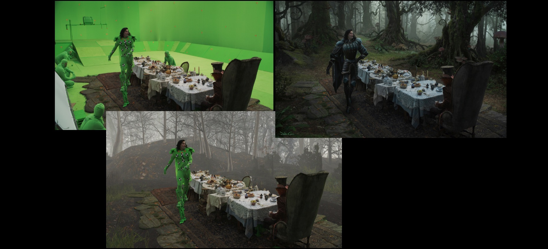 Collage of visual effects production process from Tim Burton's Alice In Wonderland