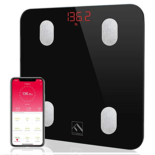 FITINDEX Bluetooth Body Fat Scale - Bluetooth Body Fat Scale - FDA Approved - Smart BMI Scale Digital Bathroom Weight Scale, Body Composition Analyzer
