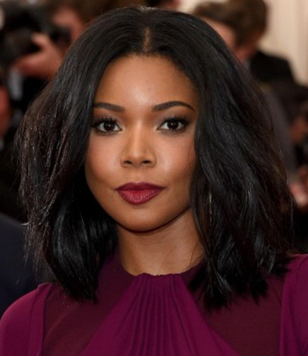 - Darker skin tone like Gabrielle Union:For those of you with a darker complexion think of using a darker shade of red, like plum. It really compliments the skin tone.