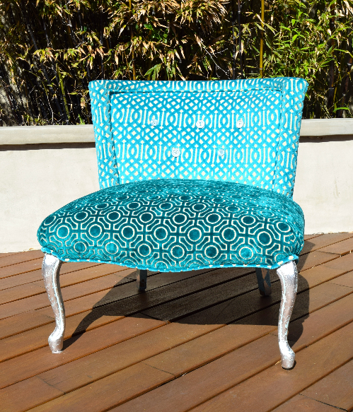 After the makeover now called our  Aqua Velvet Chair