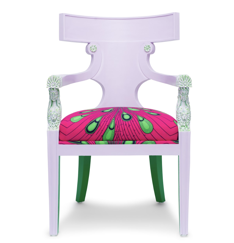 The Pink Goddess Chair available here.     Why not add a colorful African Print piece of furniture to your living space – go wild and have some fun!